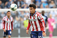 Carlos Alvarez (20) midfield Chivas USA heads the ball..Sporting Kansas City defeated Chivas USA 4-0 at Sporting Park, Kansas City, Kansas.