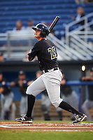 West Virginia Black Bears first baseman Albert Baur (25) at bat during a game against the Batavia Muckdogs on August 20, 2016 at Dwyer Stadium in Batavia, New York.  Batavia defeated West Virginia 7-2.  (Mike Janes/Four Seam Images)