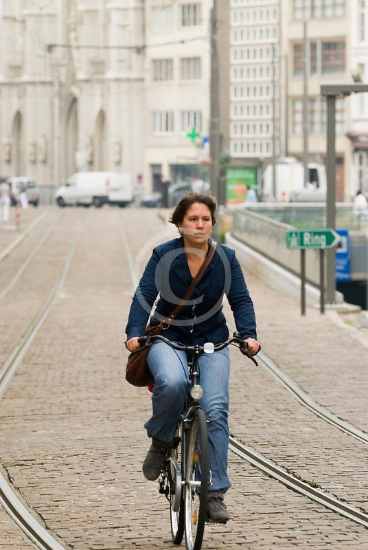 Belgium, Antwerp, Bicyclist