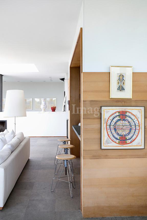 artworks on wood panelling