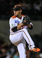 Manuel Alonso Valdez pitcher relevo de Naranjeros, durante la apertura de la temporada de beisbol de la Liga Mexicana del Pacifico 2017 2018 con el partido entre Naranjeros vs Yaquis. 11 octubre2017 . <br /> (Foto: Luis Gutierrez /NortePhoto.com)