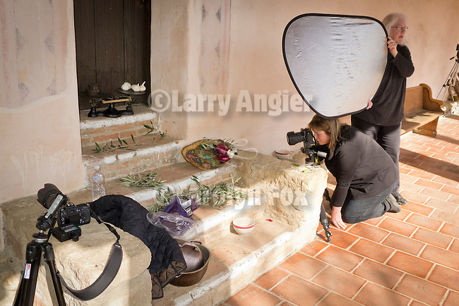 Still-life food photography at Mission San Antonio de Padua, student Cynthia Baldauf from Indianapolis is guided by instructor Barbara Moon during the 3rd Al Weber Mission Portfolio Workshop, April 2011.