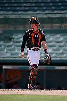 GCL Orioles catcher Jordan Cannon (35) during a Gulf Coast League game against the GCL Red Sox on July 29, 2019 at Ed Smith Stadium in Sarasota, Florida.  GCL Red Sox defeated the GCL Pirates 9-1.  (Mike Janes/Four Seam Images)