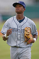 Tim Beckham #22 of the Charlotte Stone Crabs jogs off the field between innings of a Florida State League game against the Jupiter Hammerheads at Roger Dean Stadium June 15, 2010, in Jupiter, Florida.  Photo by Brian Westerholt /  Seam Images