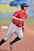 Kannapolis Intimidators third baseman Zach Remillard (8) rounds third base during a game against the Asheville Tourists at McCormick Field on April 18, 2017 in Asheville, North Carolina. The Intimidators defeated the Tourists 6-1. (Tony Farlow/Four Seam Images)