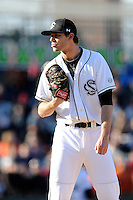 Pitcher Jack Wynkoop (13) of the South Carolina Gamecocks in the Reedy River Rivalry game against the Clemson Tigers on Saturday, February 28, 2015, at Fluor Field at the West End in Greenville, South Carolina. South Carolina won, 4-1. (Tom Priddy/Four Seam Images)