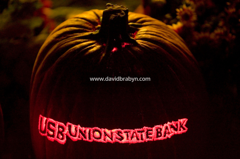 8 October 2006 - Croton-on-Hudson, NY - A sponsor's Jack O'Lantern stands on display at the Van Cortland Manor in Croton-on-Hudson, USA during the annual Great Jack O'Lantern Blaze. Over 3,000 individually hand-carved pumpkins were spread out accross the manor's woods and gardens.