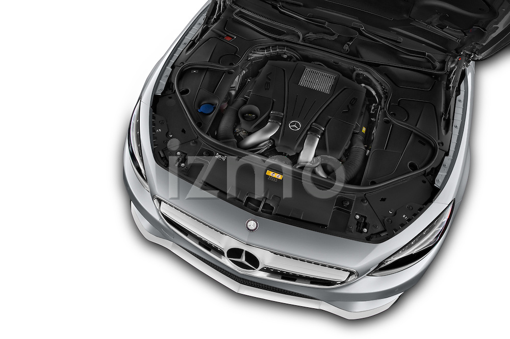 Car Stock 2015 Mercedes Benz S-Class S550 2 Door Coupe Engine high angle detail view