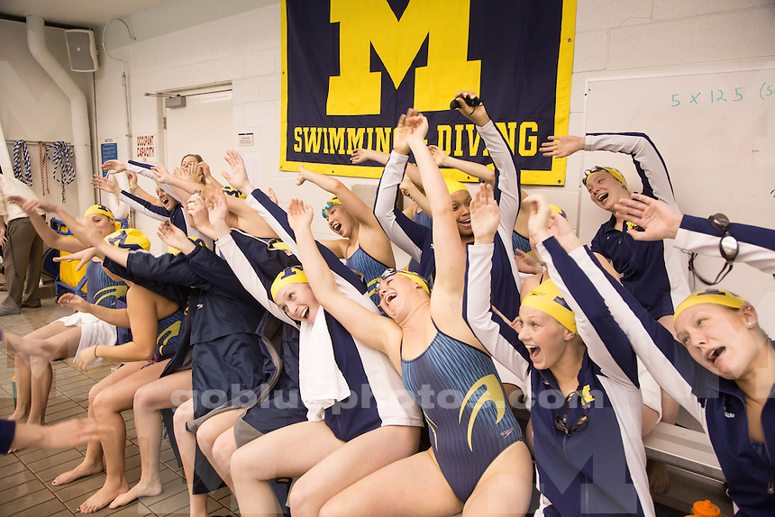 The University of Michigan women's swimming and diving team wins 164 - 107 over Michigan State, in Canham Natatorium in Ann Arbor, Mich. on February 7, 2014.