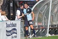 Luke O'Nien of Wycombe Wanderers is all smiles as he mixes with supporters after the 3-0 win during the Sky Bet League 2 match between Wycombe Wanderers and York City at Adams Park, High Wycombe, England on 8 August 2015. Photo by Andy Rowland.