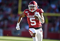 NWA Democrat-Gazette/CHARLIE KAIJO Arkansas running back Rakeem Boyd (5) carries the ball for a score, Saturday, November 2, 2019 during the second quarter of a football game at Donald W. Reynolds Razorback Stadium in Fayetteville. Visit nwadg.com/photos to see more photographs from the game.