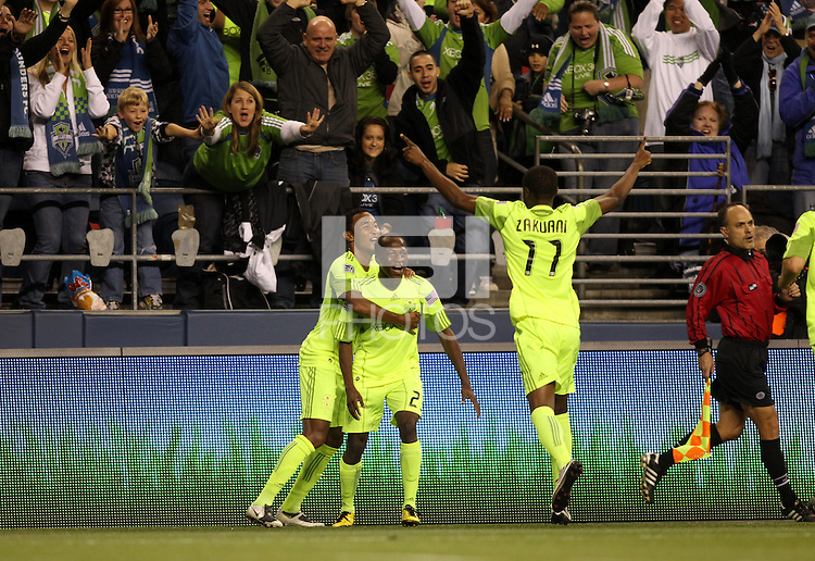 SannaNyassi (23)of the Seattle Sounders FC celebrates his goal. The Seattle Sounders FC defeated the Columbus Crew 2-1 during the US Open Cup Final at Qwest Field in Seattle,WA, on October 5, 2010.