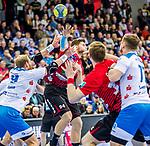 Poehle, Georg (HSG Nordhorn-Lingen #94) / Spaeth, Manuel (TVB Stuttgart #9) / TVB 1898 Stuttgart - HSG Nordhorn Lingen / HBL / LIQUI MOLY 1.Handball-BundesligaSCHARRena / Stuttgart Baden-Wuerttemberg / Deutschland <br /> <br /> Foto © PIX-Sportfotos *** Foto ist honorarpflichtig! *** Auf Anfrage in hoeherer Qualitaet/Aufloesung. Belegexemplar erbeten. Veroeffentlichung ausschliesslich fuer journalistisch-publizistische Zwecke. For editorial use only.
