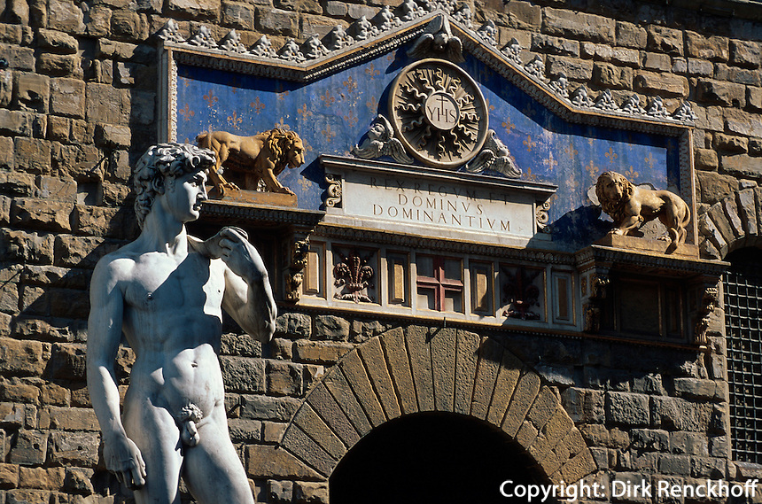 Piazza della Signoria, David von Michelangelo, Florenz, Toskana, Italien, Unesco-Weltkulturerbe