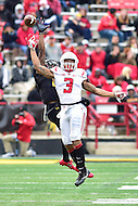 College Park, MD - NOV 26, 2016: The ball sails just about the hand of Rutgers Scarlet Knights wide receiver Jawuan Harris (3) during game between Maryland and Rutgers at Capital One Field at Maryland Stadium in College Park, MD. Maryland defeated Rutgers 31-13. (Photo by Phil Peters/Media Images International)