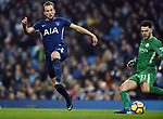 Harry Kane of Tottenham Hotspur is challenged by Manchester City goalkeeper Ederson during the premier league match at the Etihad Stadium, Manchester. Picture date 16th December 2017. Picture credit should read: Robin ParkerSportimage
