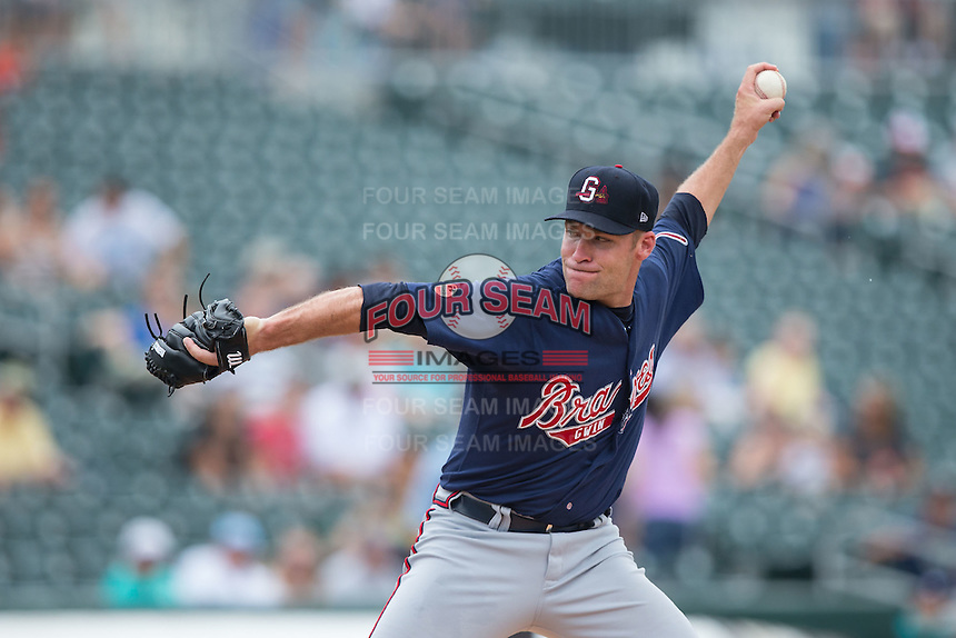 Gwinnett Braves starting pitcher Greg Smith (51) in action against the Charlotte Knights at BB&T BallPark on July 3, 2015 in Charlotte, North Carolina.  The Braves defeated the Knights 11-4 in game one of a day-night double header.  (Brian Westerholt/Four Seam Images)