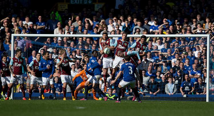 Burnley defend a free kick from Everton's Leighton Baines<br /> <br /> Photographer Stephen White/CameraSport<br /> <br /> Football - Barclays Premiership - Everton v Burnley - Saturday 18th April 2015 - Goodison Park - Everton<br /> <br /> &copy; CameraSport - 43 Linden Ave. Countesthorpe. Leicester. England. LE8 5PG - Tel: +44 (0) 116 277 4147 - admin@camerasport.com - www.camerasport.com