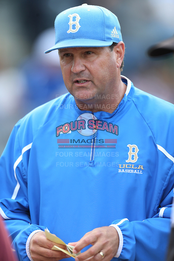UCLA Bruins Head Coach John Savage before the Arizona State Sun Devils at Jackie Robinson Stadium on March 28, 2014 in Los Angeles, California. UCLA defeated Arizona State 7-3. (Larry Goren/Four Seam Images)