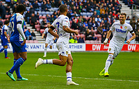 Leeds United's Kemar Roofe celebrates scoring his side's second goal with Ezgjan&nbsp;Alioski<br /> <br /> Photographer Alex Dodd/CameraSport<br /> <br /> The EFL Sky Bet Championship - Wigan Athletic v Leeds United - Sunday 4th November 2018 - DW Stadium - Wigan<br /> <br /> World Copyright &copy; 2018 CameraSport. All rights reserved. 43 Linden Ave. Countesthorpe. Leicester. England. LE8 5PG - Tel: +44 (0) 116 277 4147 - admin@camerasport.com - www.camerasport.com