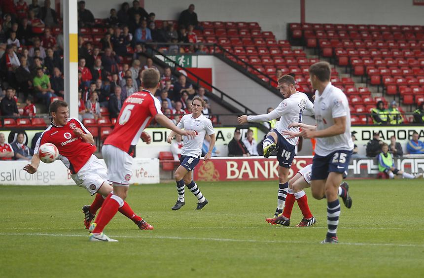 Preston North End's Joe Garner scores his sides first goal  <br /> <br /> Photographer Mick Walker/CameraSport<br /> <br /> Football - The Football League Sky Bet League One - Walsall v Preston North End - Saturday 13th September 2014 - Banks's Stadium - Walsall<br /> <br /> &copy; CameraSport - 43 Linden Ave. Countesthorpe. Leicester. England. LE8 5PG - Tel: +44 (0) 116 277 4147 - admin@camerasport.com - www.camerasport.com