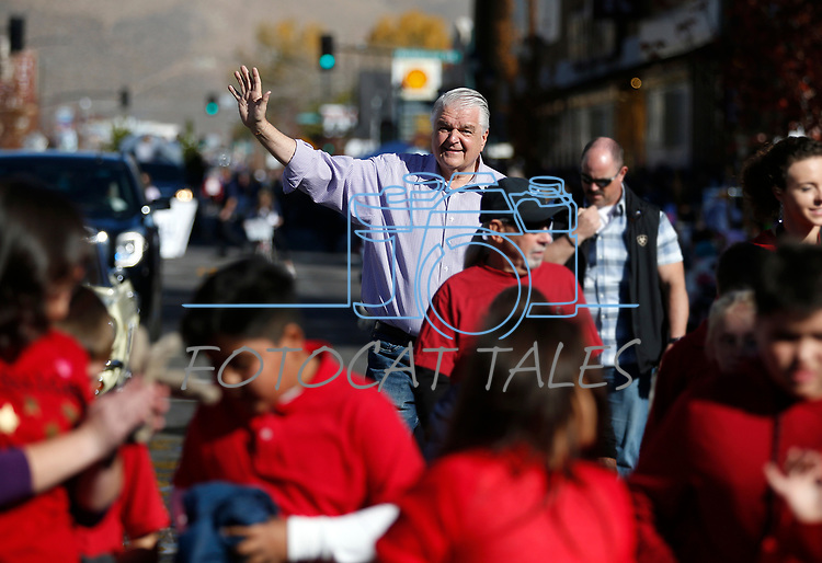 Nevada Gov. Steve Sisolak walks in the Nevada Day parade in Carson City, Nev., on Saturday, Oct. 26, 2019.  <br /> Photo by Cathleen Allison/Nevada Momentum