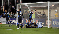 San Jose Earthquakes begin to celebrate what they thought was a score. Chivas USA defeated San Jose Earthquakes 1-0 at Buck Shaw Stadium in Santa Clara, California on May 2, 2009.