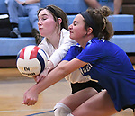 Marquette players Delaney Cain (left) and Ellie Jacobs both bump a Jerseyville serve. Jerseyville played at Alton Marquette in a girls volleyball game on Wednesday September 11, 2018.<br /> Tim Vizer/Special to STLhighschoolsports.com