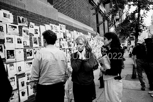 New York, New York <br /> September 2001<br /> <br /> Images and notes for those missing in the September 11 attacks on the World Trade Center are posted on walls throughout the city. Many of the images are of those killed in the attacks.