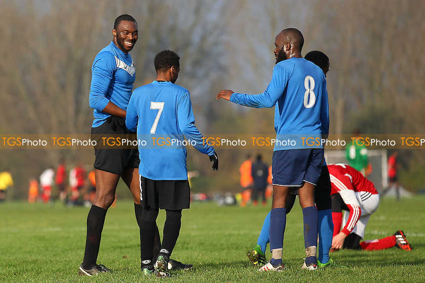 FC Bartlett score their second goal and celebrate - Dynamics (red) vs FC Bartlett (blue) - Hackney & Leyton Sunday League Dickie Davies Cup Football at South Marsh, Hackney Marshes, London - 30/11/14 - MANDATORY CREDIT: Gavin Ellis/TGSPHOTO - Self billing applies where appropriate - 0845 094 6026 - contact@tgsphoto.co.uk - NO UNPAID USE