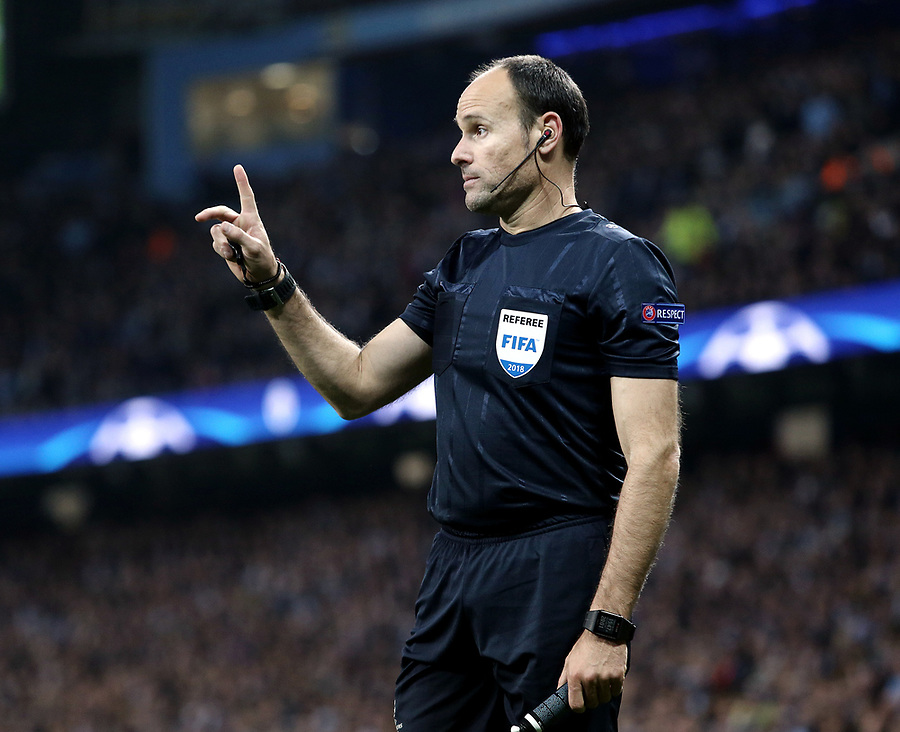 Referee Antonio Miguel Mateu Lahoz<br /> <br /> Photographer Rich Linley/CameraSport<br /> <br /> UEFA Champions League Quarter-Final Second Leg - Manchester City v Liverpool - Tuesday 10th April 2018 - The Etihad - Manchester<br />  <br /> World Copyright &copy; 2017 CameraSport. All rights reserved. 43 Linden Ave. Countesthorpe. Leicester. England. LE8 5PG - Tel: +44 (0) 116 277 4147 - admin@camerasport.com - www.camerasport.com
