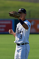 Lakeland Flying Tigers Cole Peterson (9) during warmups before a Florida State League game against the Palm Beach Cardinals on May 22, 2019 at Publix Field at Joker Marchant Stadium in Lakeland, Florida.  Palm Beach defeated Lakeland 8-1.  (Mike Janes/Four Seam Images)