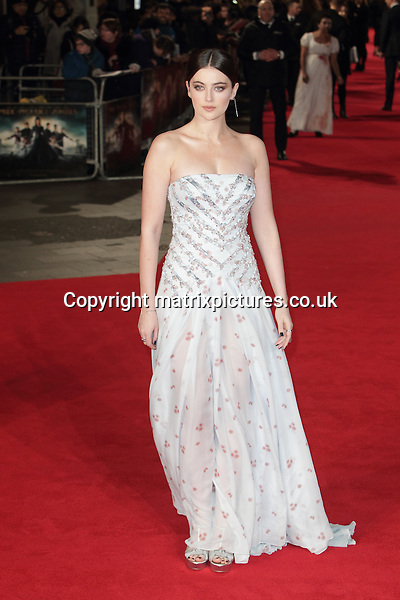NON EXCLUSIVE PICTURE: MATRIXPICTURES.CO.UK<br /> PLEASE CREDIT ALL USES<br /> <br /> WORLD RIGHTS <br /> <br /> Actress Millie Brady attending the Pride And Prejudice And Zombies European Film Premiere, at Vue West End cinema in London. <br /> <br /> FEBRUARY 1st 2016<br /> <br /> REF: GBH 16272