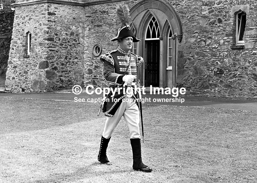 Bugler Gerald Silcock, the only member of the Hillsborough Guard, on the occasion of his commissioning by the Marquis of Downshire. The ceremony took place at the Old Fort near the centre of the village in N Ireland, UK. 19713220257b.<br /> <br /> Copyright Image from Victor Patterson, 54 Dorchester Park, Belfast, UK, BT9 6RJ<br /> <br /> t1: +44 28 9066 1296<br /> t2: +44 28 9002 2446<br /> m: +44 7802 353836<br /> <br /> e1: victorpatterson@me.com<br /> e2: victorpatterson@gmail.com<br /> <br /> www.victorpatterson.com<br /> <br /> IMPORTANT: Please see my Terms and Conditions of Use at www.victorpatterson.com