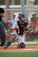 Maxwell Romero Jr during the WWBA World Championship at the Roger Dean Complex on October 18, 2018 in Jupiter, Florida.  Maxwell Romero Jr is a catcher from Miramar, Florida who attends Pembroke Pines Charter High School and is committed to Vanderbilt.  (Mike Janes/Four Seam Images)