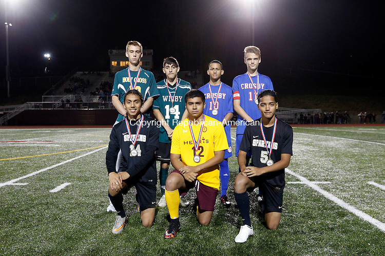 Naugatuck, CT- 03 November 2016-110316CM19-  The boys NVL Brass Division all stars. Front row left to right: Jason Bello, Waterbury Career Academy; Isaac Gonzalez, Sacred Heart; Giovasky Caquias, Waterbury Career Academy. Back row: Gavin Nealon, Holy Cross; Marc Calle, Wilby; Anthony Orellana, Arben Bajrami, Crosby. Missing: Pablo Garcia, Wilby Christopher Massa Republican-American