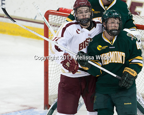 Destry Straight (BC - 17), Nick Bruneteau (UVM - 4) - The Boston College Eagles defeated the University of Vermont Catamounts 4-1 on Friday, February 1, 2013, at Kelley Rink in Conte Forum in Chestnut Hill, Massachusetts.