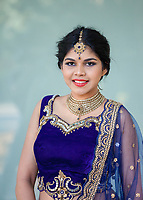 Indian Woman Wearing Blue Traditional Clothing, Renton Multicultural Festival 2017, WA, USA.