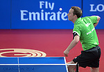 Wales Ryan Jenkins in action against England's Paul Drinkhall<br /> <br /> Photographer Ian Cook/Sportingwales<br /> <br /> 20th Commonwealth Games - Table Tennis -  Day 9 -  Friday 1st August 2014 - Glasgow - UK