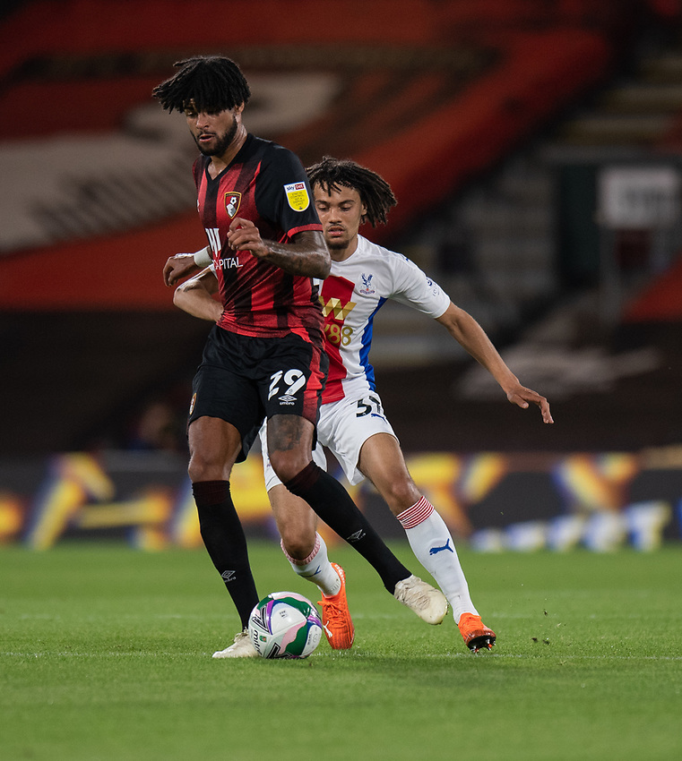 Bournemouth's Philip Billing (left) under pressure from Crystal Palace's Nya Kirby (right)<br /> <br /> Photographer David Horton/CameraSport<br /> <br /> Carabao Cup Second Round Southern Section - Bournemouth v Crystal Palace - Tuesday 15th September 2020 - Vitality Stadium - Bournemouth<br />  <br /> World Copyright © 2020 CameraSport. All rights reserved. 43 Linden Ave. Countesthorpe. Leicester. England. LE8 5PG - Tel: +44 (0) 116 277 4147 - admin@camerasport.com - www.camerasport.com