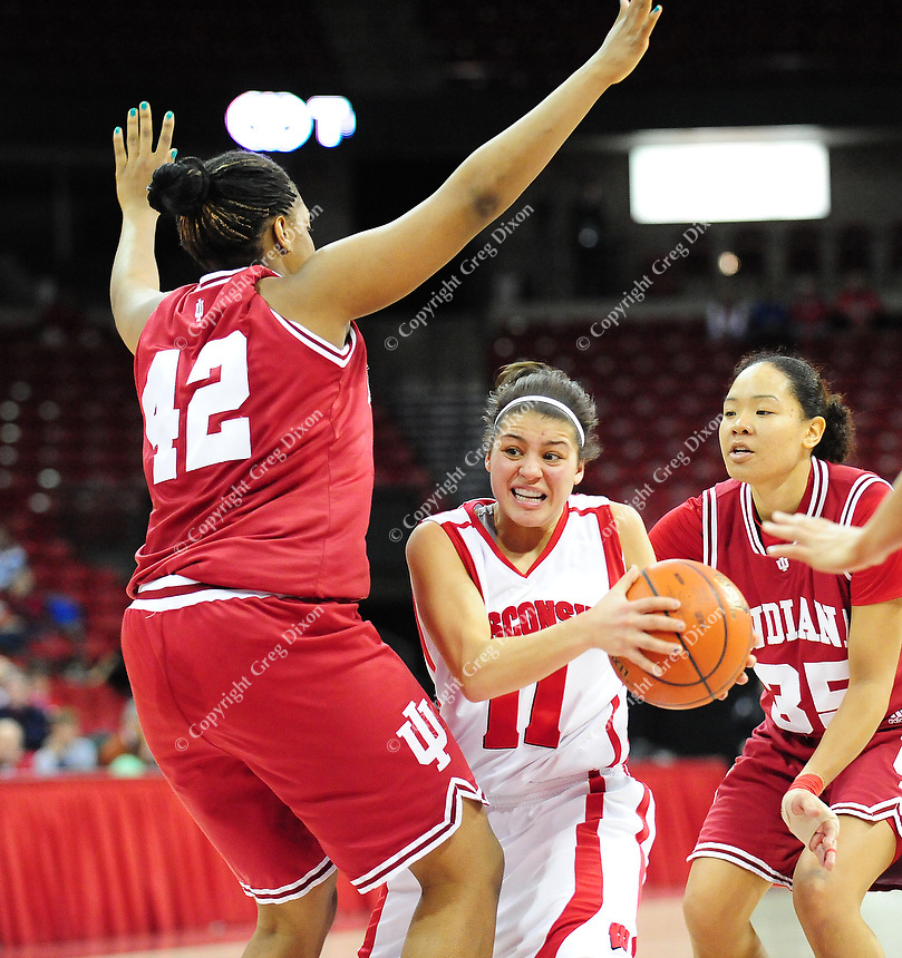 Wisconsin's Rae Lin D'Alie goes in for a layup against Indiana University in Badgers women's basketball on Monday at the Kohl Center in Madison