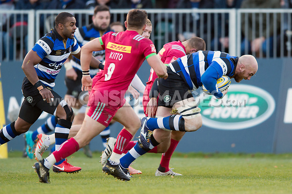 Matt Garvey of Bath Rugby takes on the Harlequins defence. Aviva Premiership match, between Bath Rugby and Harlequins on November 25, 2017 at the Recreation Ground in Bath, England. Photo by: Patrick Khachfe / Onside Images