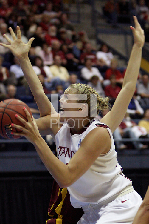 BERKELEY, CA - MARCH 30: Jayne Appel posts up and scores during Stanford's 74-53 win against the Iowa State Cyclones on March 30, 2009 at Haas Pavilion in Berkeley, California.