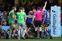 Ross Batty celebrates as team-mate Kahn Fotuali'i wins a late penalty for his side. Gallagher Premiership match, between Bath Rugby and Harlequins on March 2, 2019 at the Recreation Ground in Bath, England. Photo by: Patrick Khachfe / Onside Images
