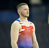 21st March 2018, Arena Birmingham, Birmingham, England; Gymnastics World Cup, day one, mens competition; Dominick Cunningham (GBR) before the competition begins