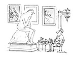 (An art gallery with an attendant playing a game of chess with a statue like Rodin's 'The Thinker')