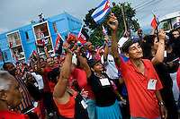 Cubans wave the national flags and demonstrate support for the Castro Brothers' regime during the annual celebration of the Cuban Revolution anniversary in Santiago de Cuba, Cuba, 26 July 2008. The Cuban revolution began when the poorly armed Cuban rebels, led by Fidel Castro, attacked the Moncada Barracks in Santiago de Cuba on 26 July 1953. The attack was easily defeated and most of the rebels were captured and later executed by the Batista regime. Although Fidel Castro had been sentenced to 15 years of prison, after less than two years he was released, he went to Mexico and in 1956, back in Cuba again, his guerilla group started a new rebellion.