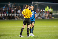 Kansas City, Mo. - Saturday April 23, 2016: FC Kansas City forward Shea Groom (2) talks with an official after receiving a yellow card, her first of two in the match, during a match against Portland Thorns FC at Swope Soccer Village. The match ended in a 1-1 draw.