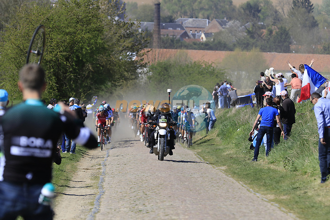 The peloton on pave sector 25 Briastre a Solesmes during the 115th edition of the Paris-Roubaix 2017 race running 257km Compiegne to Roubaix, France. 9th April 2017.<br /> Picture: Eoin Clarke | Cyclefile<br /> <br /> <br /> All photos usage must carry mandatory copyright credit (&copy; Cyclefile | Eoin Clarke)