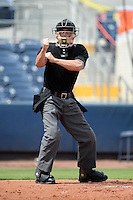 Umpire Ben Sonntag makes a call during an Instructional League game between the Minnesota Twins and Tampa Bay Rays on September 16, 2014 at Port Charlotte Sports Complex in Port Charlotte, Florida.  (Mike Janes/Four Seam Images)